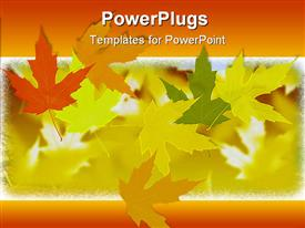 PowerPoint template displaying fall autumn leaves in orange, yellow, green with orange border