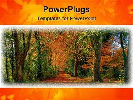 PowerPoint template displaying different shades of tress showing the season of coming Autumn