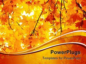 PowerPoint template displaying a number of yellow leaves during the fall season