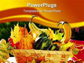 Basket full of colorful autumn garden harvest powerpoint theme