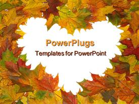 PowerPoint template displaying frame with colored autumn maple leaves