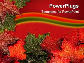 PowerPoint template displaying green and brown colored autumn leaves on a red background