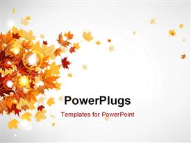 Flying autumn leaves background with space for text presentation background