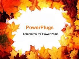 PowerPoint template displaying autumn border with fall leaves in red, orange, yellow and brown