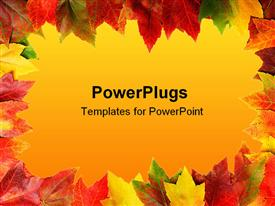 PowerPoint template displaying yellow, green, red, rusty, orange, colorful autumn leaves framing gradient yellow background