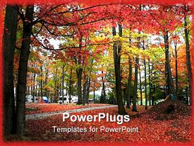 PowerPoint template displaying a number of trees together in autumn season