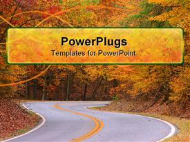 PowerPoint template displaying country road going through trees in autumn scenery with fallen leaves
