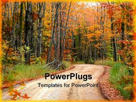 PowerPoint template displaying lonely dirt road between trees in an autumn season