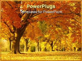 PowerPoint template displaying autumnal depiction of forest trees with yellow and rusty grass and orange leaves