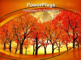 PowerPoint template displaying beautiful autumn landscape with trees. 3D depiction