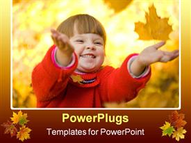 Very cheerful child having fun while tossing up yellow leaves powerpoint theme
