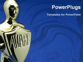 PowerPoint template displaying award in blue background