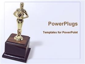 PowerPoint template displaying golden trophy on wooden base with white background