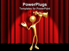 PowerPoint template displaying gold 3D figure holding gold award statuette on red curtain background