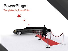 PowerPoint template displaying a red carpet a man and a limousine