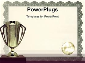 PowerPoint template displaying medals certificates awarding achievements and successful on neutral background