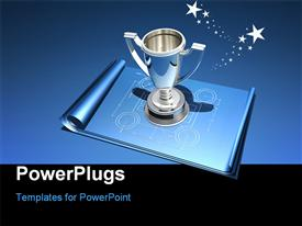PowerPoint template displaying silver trophy sitting on blue building blueprint with black and blue background