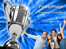 PowerPoint template displaying award winning group points to silver trophy on sparkling blue background
