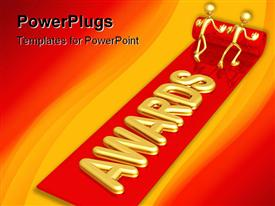 PowerPoint template displaying two golden figures unrolling red carpet bearing 'AWARDS' with red and gold background
