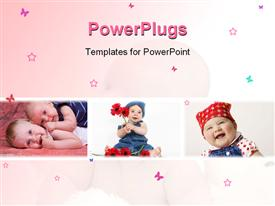PowerPoint template displaying babies in Pink