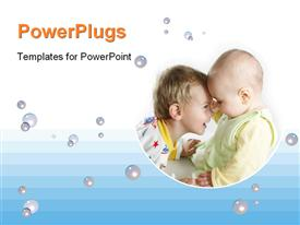 Child with baby on white powerpoint design layout