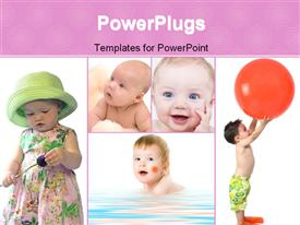 PowerPoint template displaying collage of babies