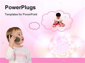 PowerPoint template displaying a baby talking into a phone with a thinking cloud displaying another baby