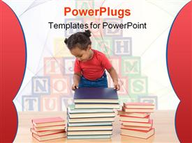 PowerPoint template displaying adorable African baby ordering many books on a white background