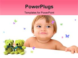 Adorable Baby Smiling on white Background powerpoint template