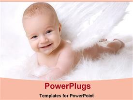 PowerPoint template displaying angel baby smiling