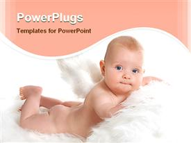 PowerPoint template displaying baby angel without diapers