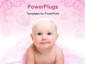 PowerPoint template displaying baby Ballerina. Very cute happy baby girl wearing ballerina skirt in the background.