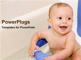 PowerPoint template displaying baby in a bathtub