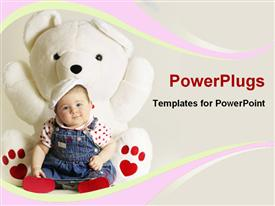 PowerPoint template displaying baby with a big teddy bear