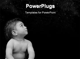 Baby in black and white powerpoint template