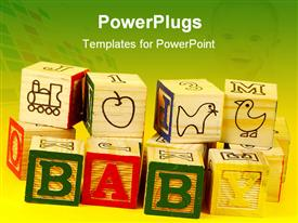 PowerPoint template displaying baby wooden blocks with train, apple, duck, letters, numbers and baby word