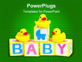 PowerPoint template displaying baby blocks and rubber ducks