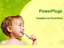 PowerPoint template displaying a small boy brushing his teeth on a yellow and green background