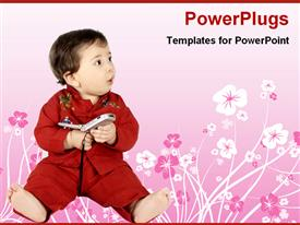 PowerPoint template displaying baby with a cell phone in a floral background
