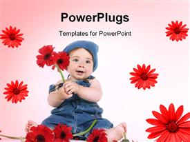 PowerPoint template displaying baby dressed in denim is holding beautiful red gerbera daisies
