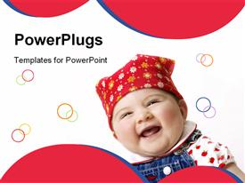 PowerPoint template displaying baby feeling happy