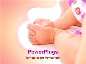 PowerPoint template displaying baby feet and hand close up on white