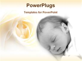 PowerPoint template displaying baby in a floral background