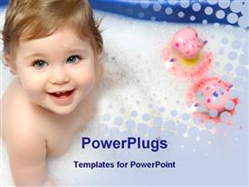 PowerPoint template displaying baby girl in a bathtub with toys