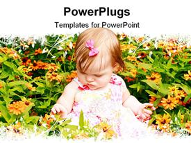 PowerPoint template displaying baby Girl Sitting in Bed of Flowers
