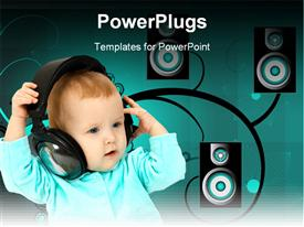 PowerPoint template displaying baby and headphones in the background.