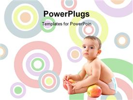PowerPoint template displaying baby with healthy fruits on white background