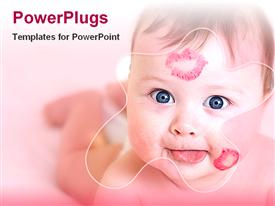 PowerPoint template displaying baby with kisses