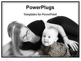 PowerPoint template displaying baby with mother