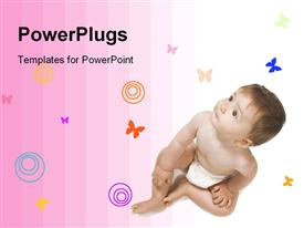 PowerPoint template displaying baby Over White Background